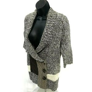 BKE Short Sleeve Cardigan Sweater Marled Brown M